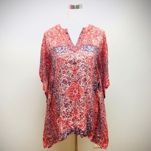 W by Worth Flowing Summer Top Red Blue, Sz XP
